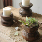 Hand Carved Wooden Seed Spreader Candle Holders