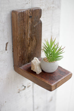 Small Vertical Reclaimed Wood Wall Shelf
