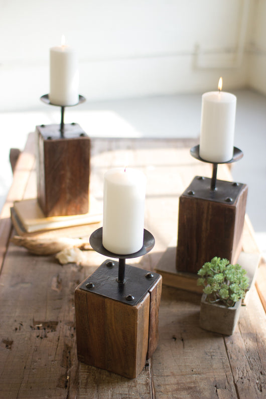 Recycled Wood Candle Holders with Rasied Metal Candle Cups