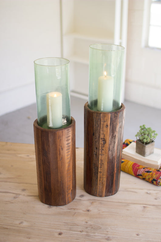 Recycled Wood Candle Pedestals with Green Glass Hurricanes