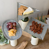 Galvanized Metal Appetizer Dessert Snack Trays Bottle Toppers