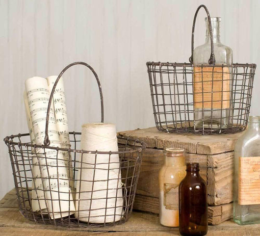 Wire Nesting Baskets-Set of 2, Wire Storage Baskets