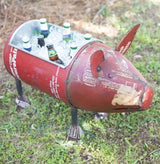 Recycled Metal Pig Cooler Planter Large Rustic Outdoor Party Porch Garden Decor