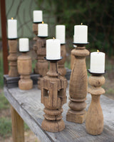 Reclaimed Wooden Furniture Leg Candle Holders