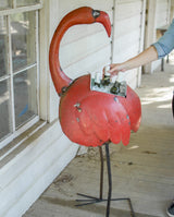 Recycled Iron Flamingo Cooler/Planter