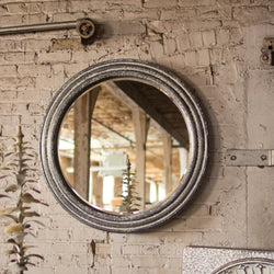Large Rustic Round Metal Wall Mirror