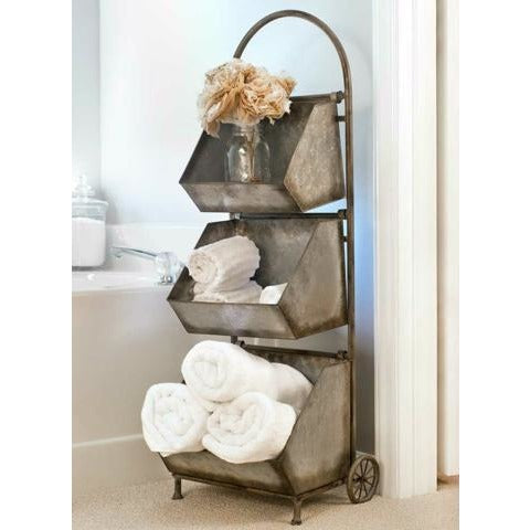 Rustic Metal Farmhouse/Industrial Style Cart With Wheels Has 3 Removable Storage Bins and Wooden Handle