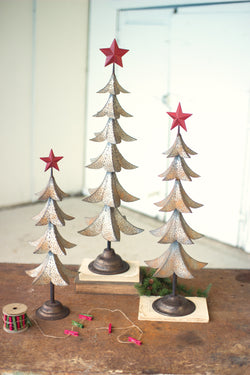 Metal Christmas Trees With Red Star - Set of 3