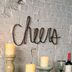 Rustic Metal Cheers Sign