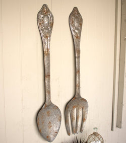 Large Metal Fork and Spoon Wall Decor