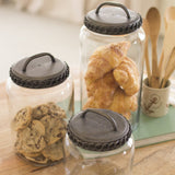 Glass Canisters With Antique Brass Finish Lids