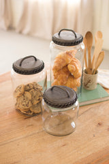 Glass Canisters With Antique Brass Finish Lids Set/3
