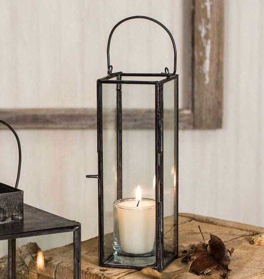 Small Metal and Glass Lantern-Candle Lantern-Decorative Lantern