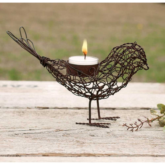Rusty Wire Bird Tea Light Candle Holder - Set of 4
