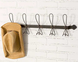 Rustic Metal Coat Hook Rack-5 Hooks