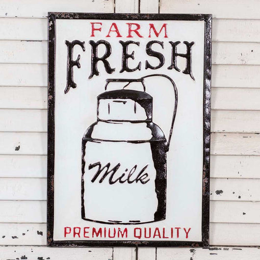 Farm Fresh Milk Premium Quality Metal Sign