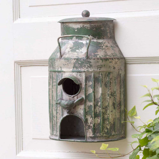 old milk can bird house, vintage milk can bird house