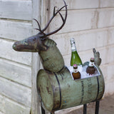 Reclaimed Green Metal Deer Cooler