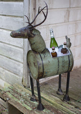 Reclaimed Green Metal Deer Cooler/Planter