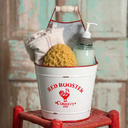 Red Rooster Bucket Caddy-Vintage Utility Bucket