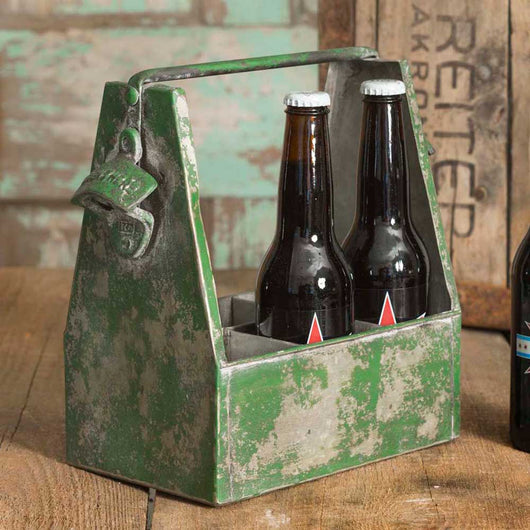 Metal Bottle Caddy with Openers-Distressed Green Finish