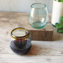 Recycled Glass Stemless Wine Glasses With Amber Rim