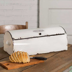 vintage style metal bread box with white enamel finish