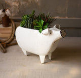 white enamel pig planter pot garden decor porch farmhouse