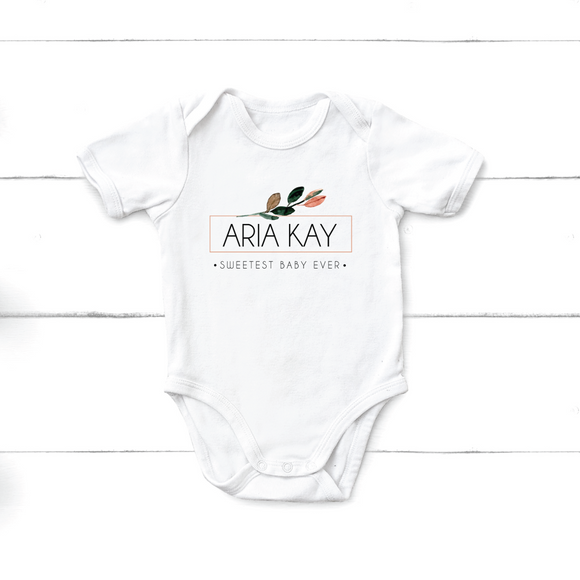 Floral Baby Name Onesie - Sweetest baby ever - Happyism, Inc. Engraving