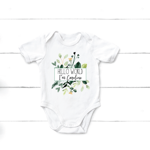 Floral Baby Name Onesie - Hello World - Happyism, Inc. Engraving