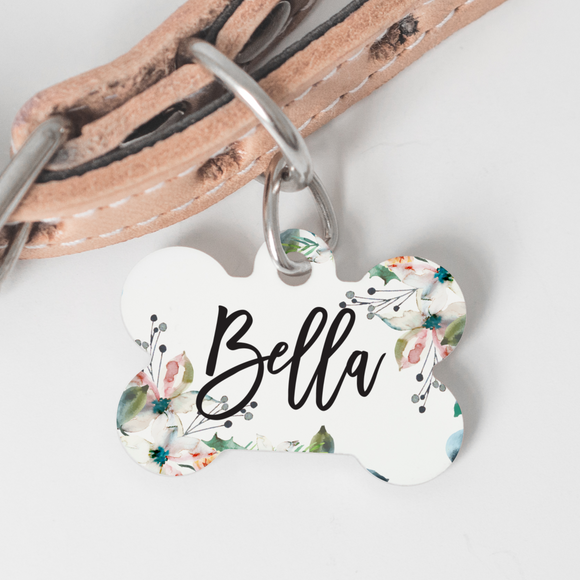 Custom Dog ID Tag - Floral Pastel - Happyism, Inc. Engraving