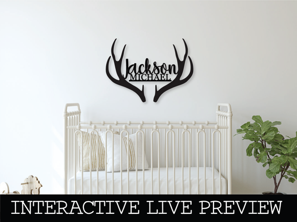 Custom Antlers Name Wood Sign - Live Preview