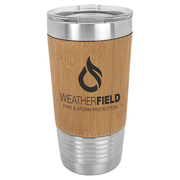 Custom Engraved Stainless Steel 20 oz Tumbler - Bamboo Leatherette Wrap - Happyism, Inc. Engraving