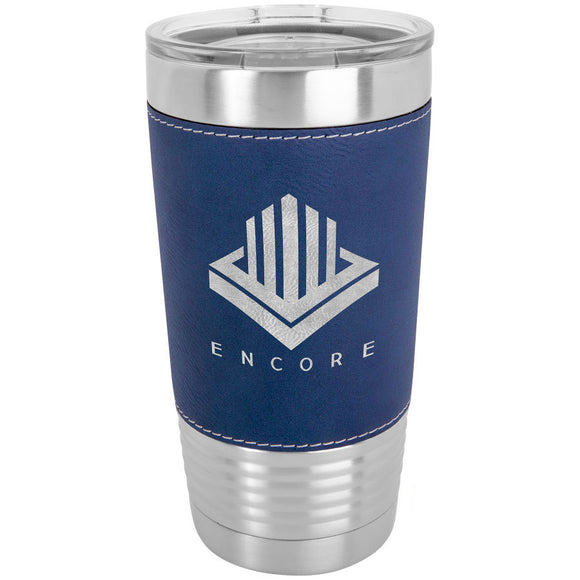 Custom Engraved Stainless Steel 20 oz Tumbler - Blue Leatherette Wrap - Happyism, Inc.