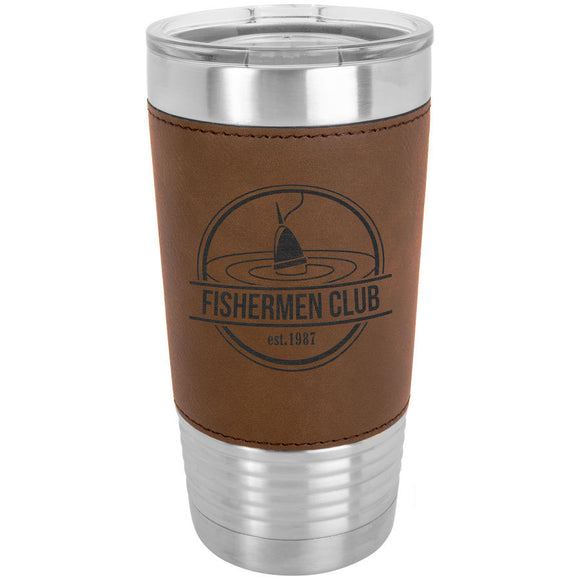 Custom Engraved Stainless Steel 20 oz Tumbler - Brown Leatherette Wrap