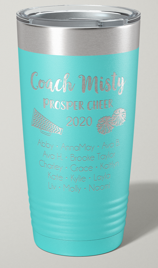 Engraved Cheerleading Coach 20 oz Stainless Steel Tumbler - Happyism, Inc. Engraving