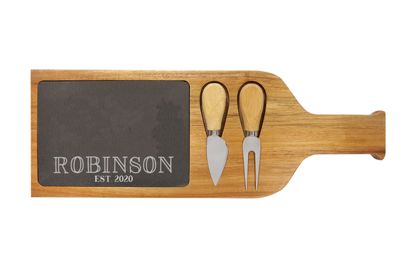 Acacia Wood/Slate Serving Board with Two Tools - Cheeseboard - Happyism, Inc. Engraving
