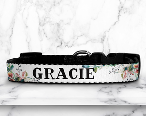 Custom Dog Collar - Floral - Happyism, Inc. Engraving