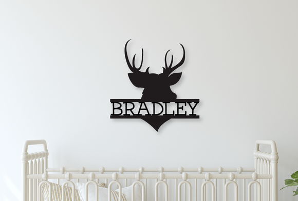 Deer Head Name Sign - Happyism, Inc.