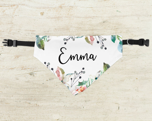 Custom Dog Bandana - Over Collar Bandana - Floral - Happyism, Inc. Engraving