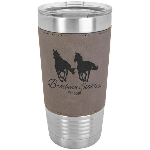 Custom Engraved Stainless Steel 20 oz Tumbler - Grey Leatherette Wrap