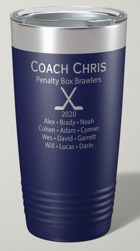 Engraved Hockey Coach 20 oz Stainless Steel Tumbler - Happyism, Inc. Engraving