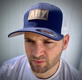 Custom Leatherette Patch Hat - Flexfit hat - Happyism, Inc. Engraving