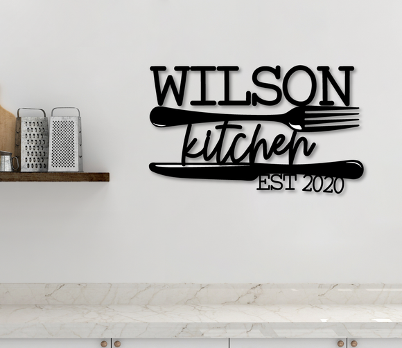Custom Kitchen Family Name Sign - Happyism, Inc.