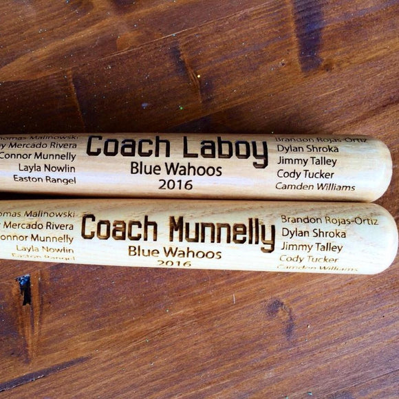 Engraved Miniature Coach Bat - Happyism, Inc. Engraving