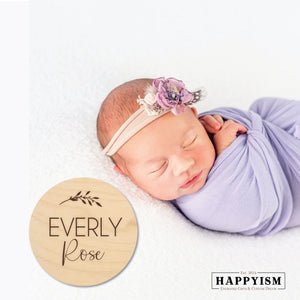 Engraved Wood Newborn Name Sign - Leafy
