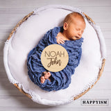 Engraved Wood Newborn Name Sign - Tropical