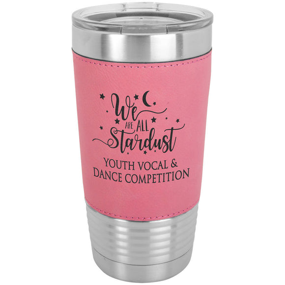Custom Engraved Stainless Steel 20 oz Tumbler - Pink Leatherette Wrap - Happyism, Inc. Engraving