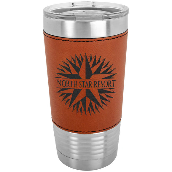 Custom Engraved Stainless Steel 20 oz Tumbler - Rawhide Leatherette Wrap - Happyism, Inc.