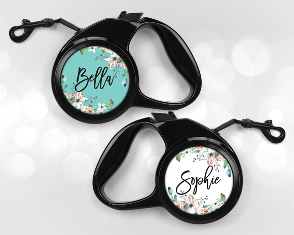 Retractable Pet Leash - Floral - Happyism, Inc. Engraving